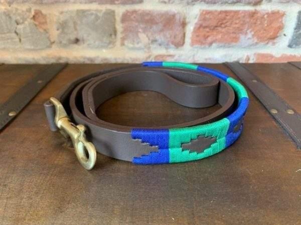 Elite Premium Polo Dog Lead - Green / Blue