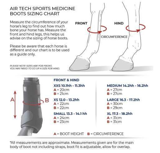 Premier Equine Sports Medicine boots size giude