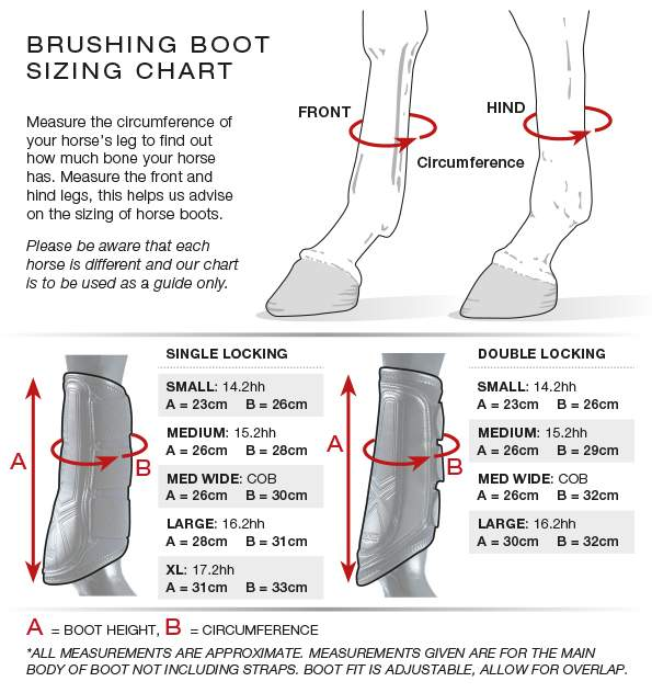 Premier Equine Brushing boots size guide
