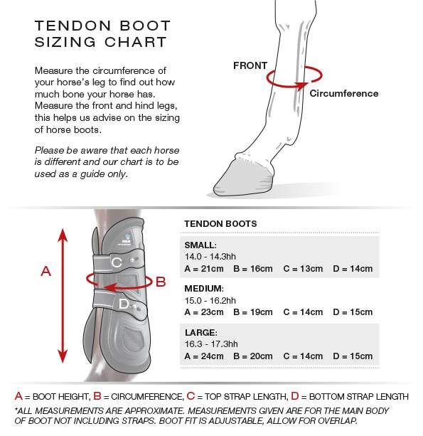 Premier Equine Fetlock boot size guide