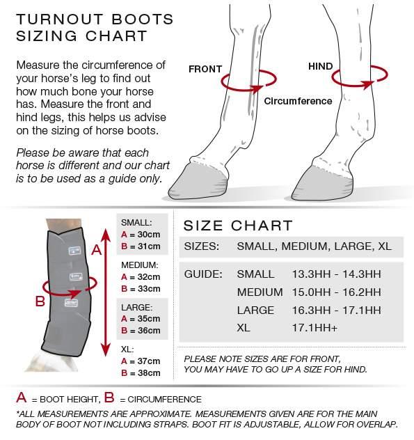 Premier Equine Turnout boots size guide