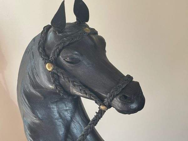 Black Leather Covered Horse Figure