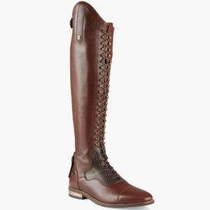 Premier Equine Maurizia Ladies Lace Front Tall Brown Leather Riding Boots