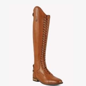 Premier Equine Maurizia Ladies Lace Front Tall Cognac Leather Riding Boots